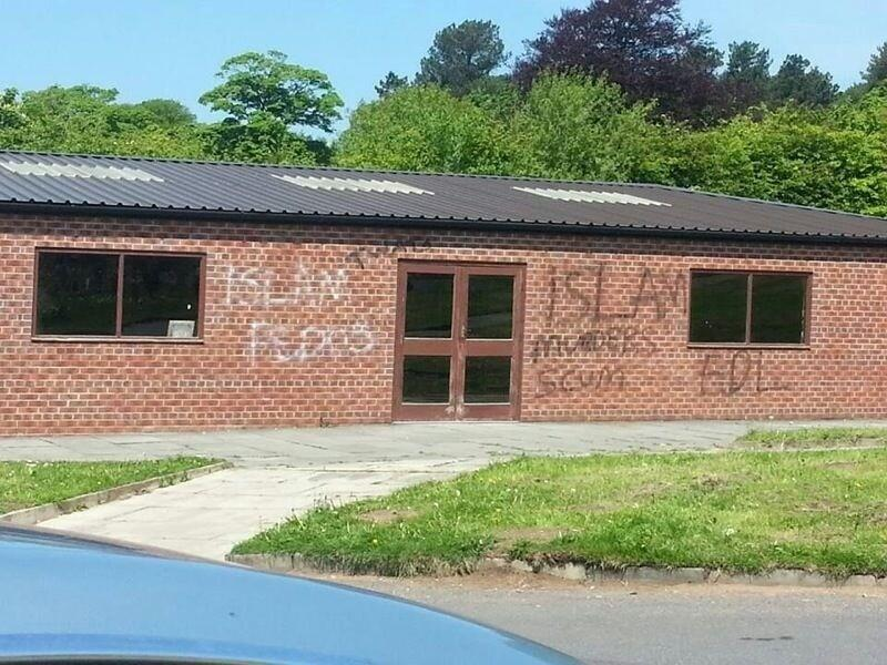 Picture of the Blackburn prayer hall facility in #Muslim graveyard that was spray-painted.